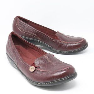 Clarks Collection Burgundy Leather Loafers